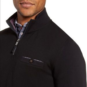 Ted Baker Curbing Slim Fit Quarter Zip Pullover